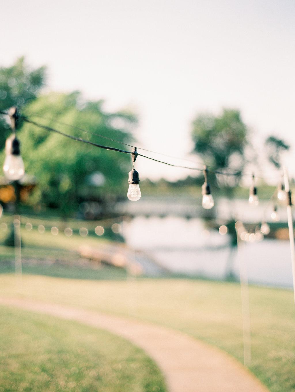 Nebraska Midwest Tent Wedding Edison Bulbs