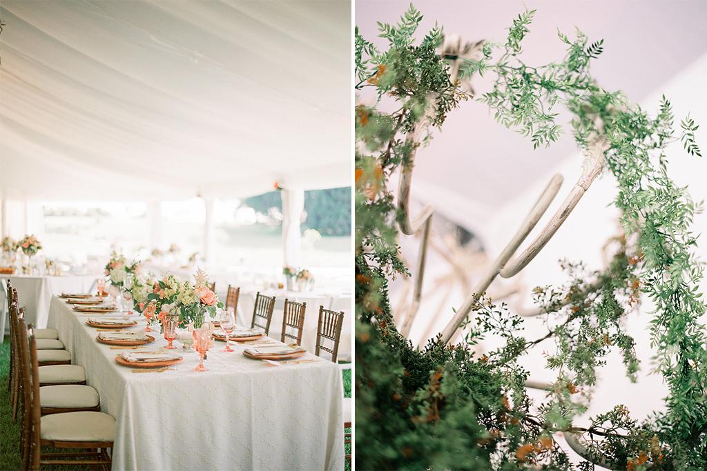Nebraska Midwest Tent Wedding Head Table Chandelier