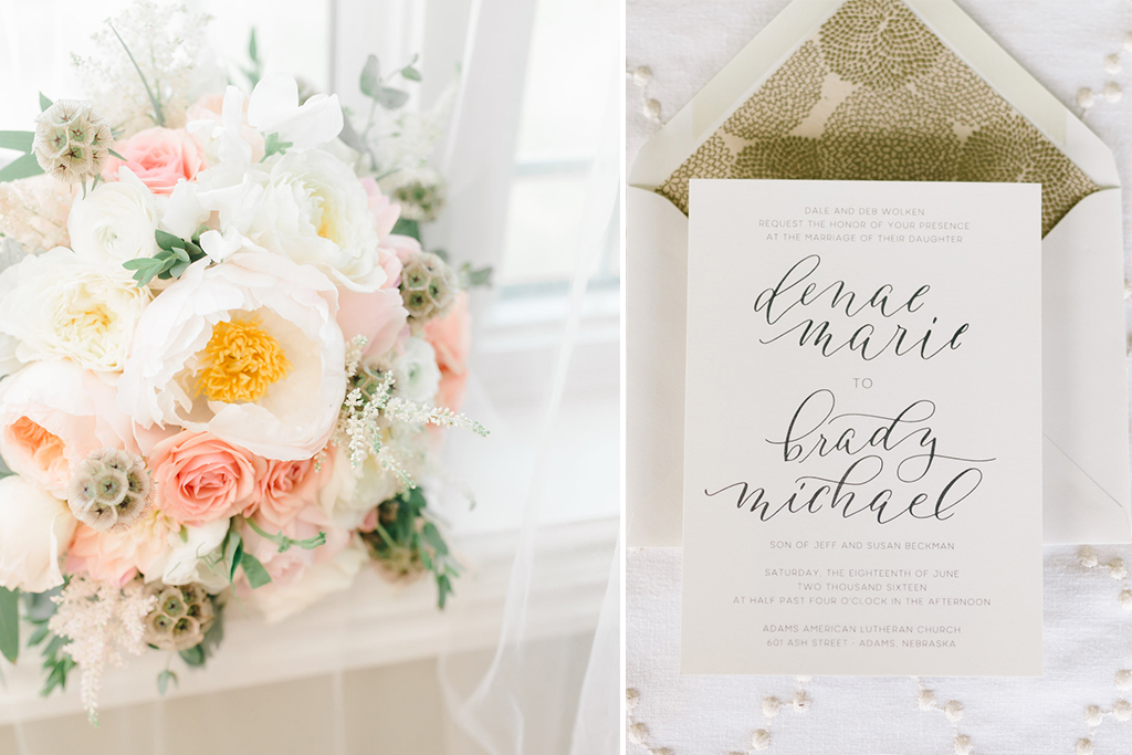 Nebraska Midwest Tent Wedding Bouquet Invitation