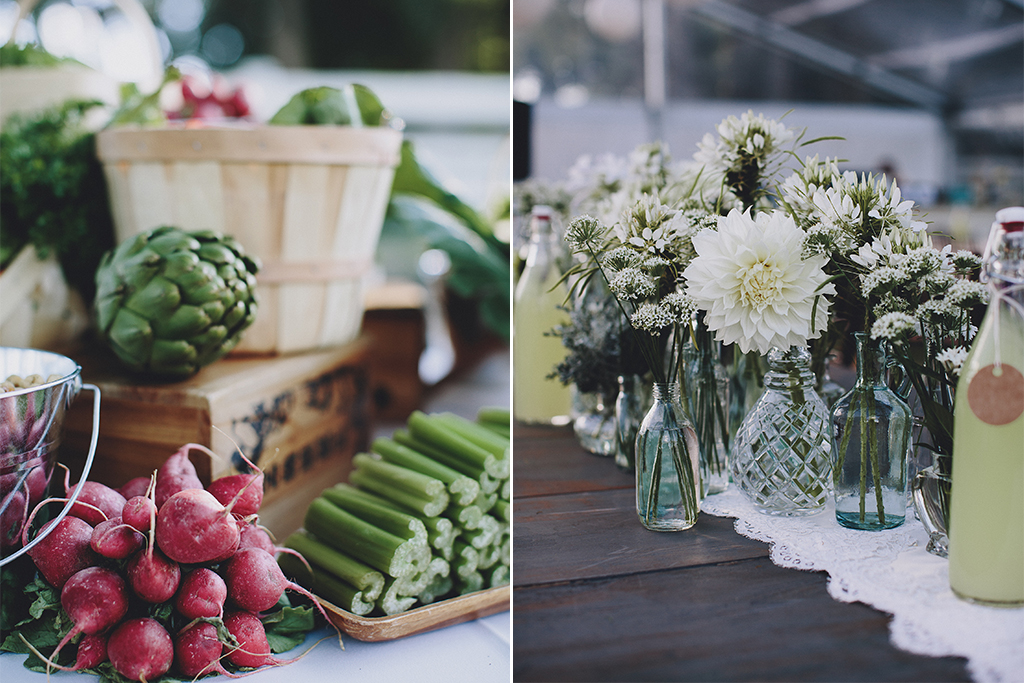Nebraska Midwest Tent Wedding Crudite Tablescape