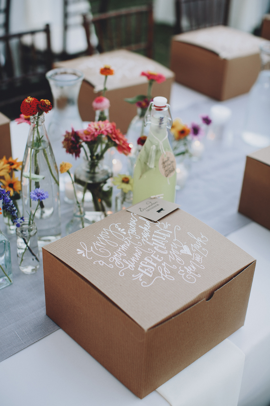 Nebraska Midwest Tent Wedding Picnic Box Calligraphy