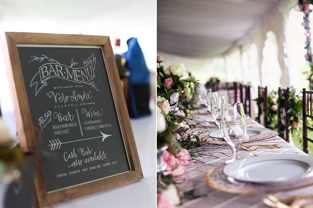 Nebraska Midwest Wedding Bar Menu Head Table