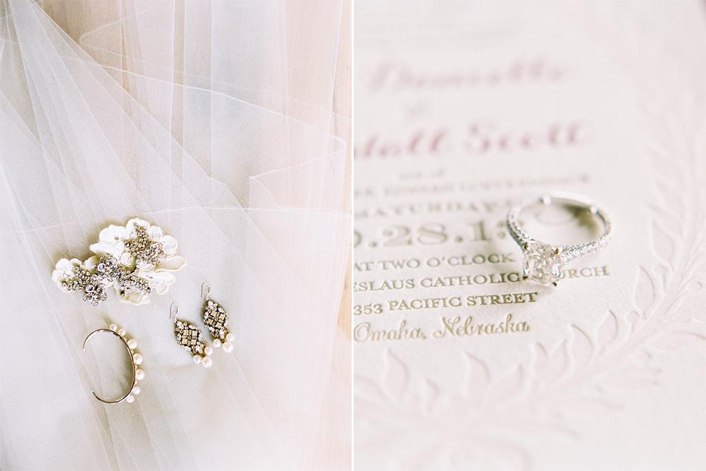 Omaha Nebraska Midwest Wedding Indian Hills Ring Earrings