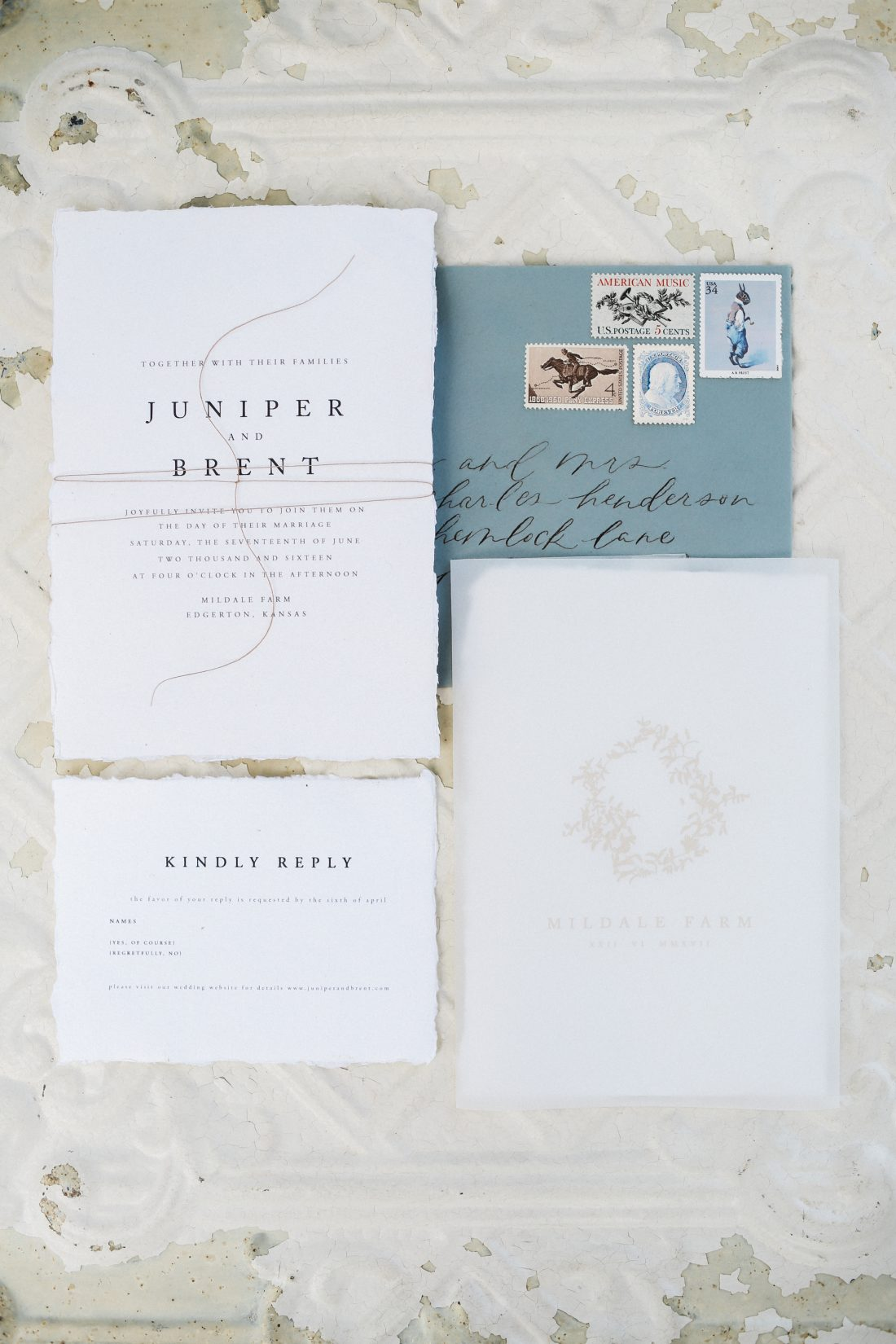 Mildale Farms Kansas City Wedding invitation suite