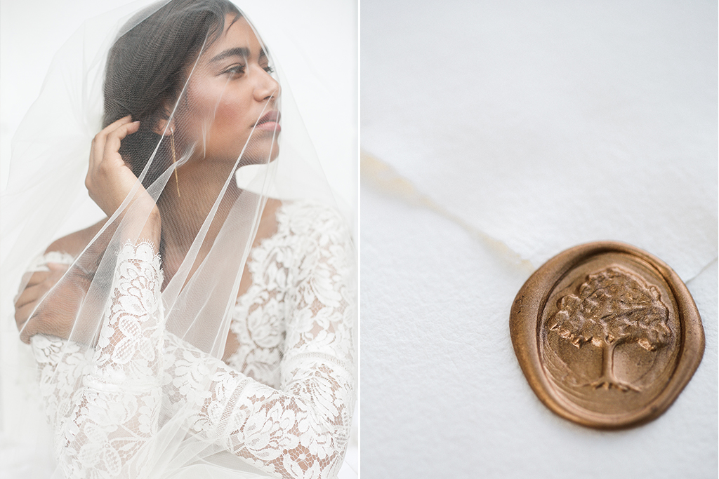 Mildale Farms Kansas City Wedding bride veil wax seal