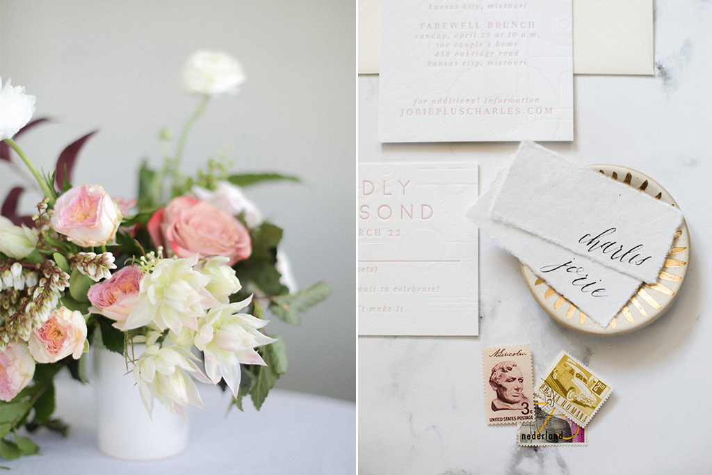 Kansas City Wedding Styled Shoot Winery Flowers Invitation Suite Letterpress