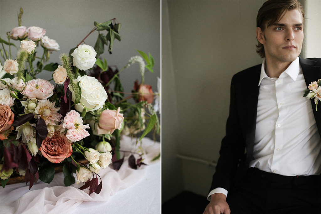 Kansas City Wedding Styled Shoot Winery Flowers Groom
