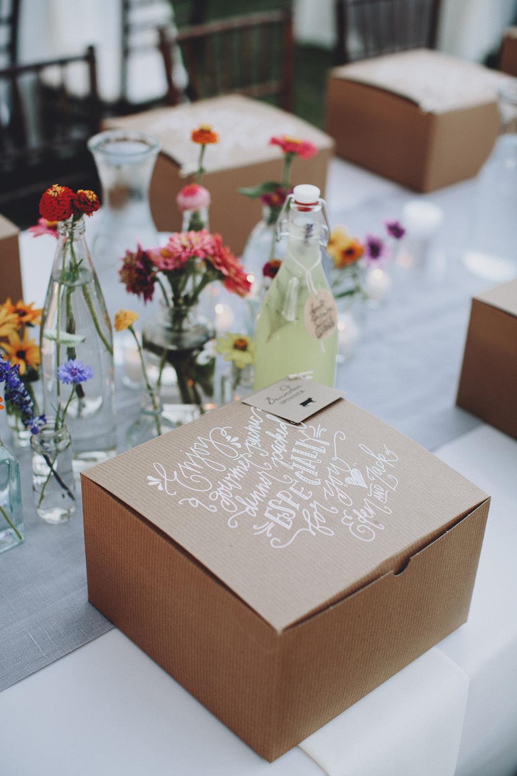 Nebraska Midwest Tent Wedding Picnic Box Calligraphy
