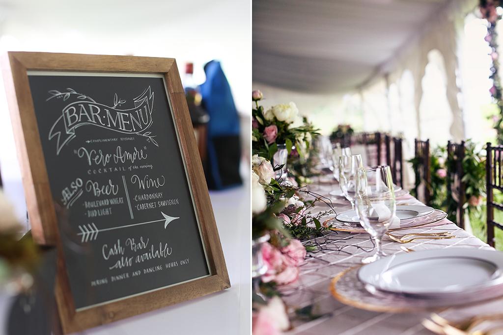 Nebraska Midwest Wedding Bar Menu Head Table