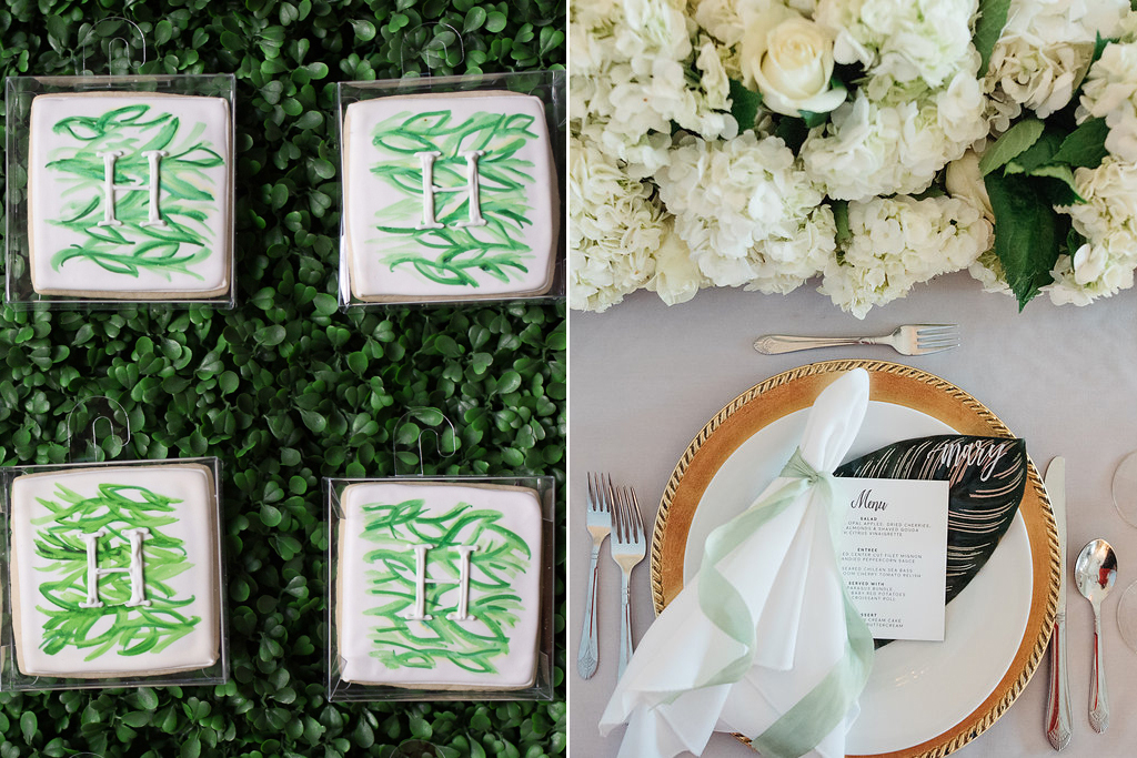 Happy Hollow Country Club Omaha Nebraska Midwest Wedding Cookies Place Setting