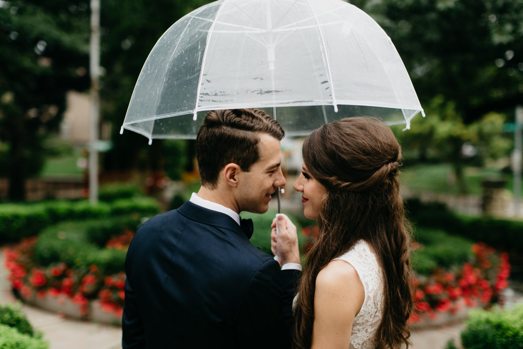 Paxton Ballroom Omaha Nebraska Midwest Wedding Couple Umbrella