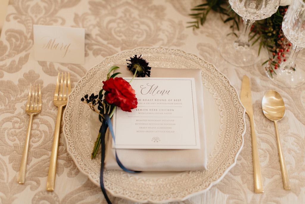 Paxton Ballroom Omaha Nebraska Midwest Wedding head table place setting