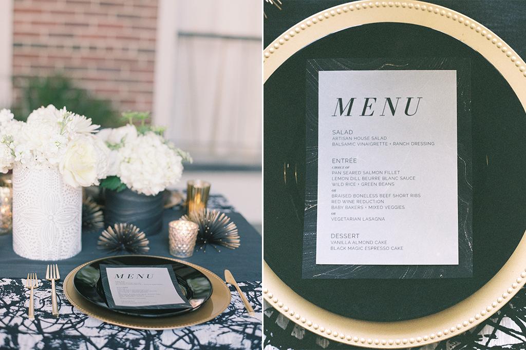 Omaha Midwest Wedding Magnolia Hotel Tablescape Menu