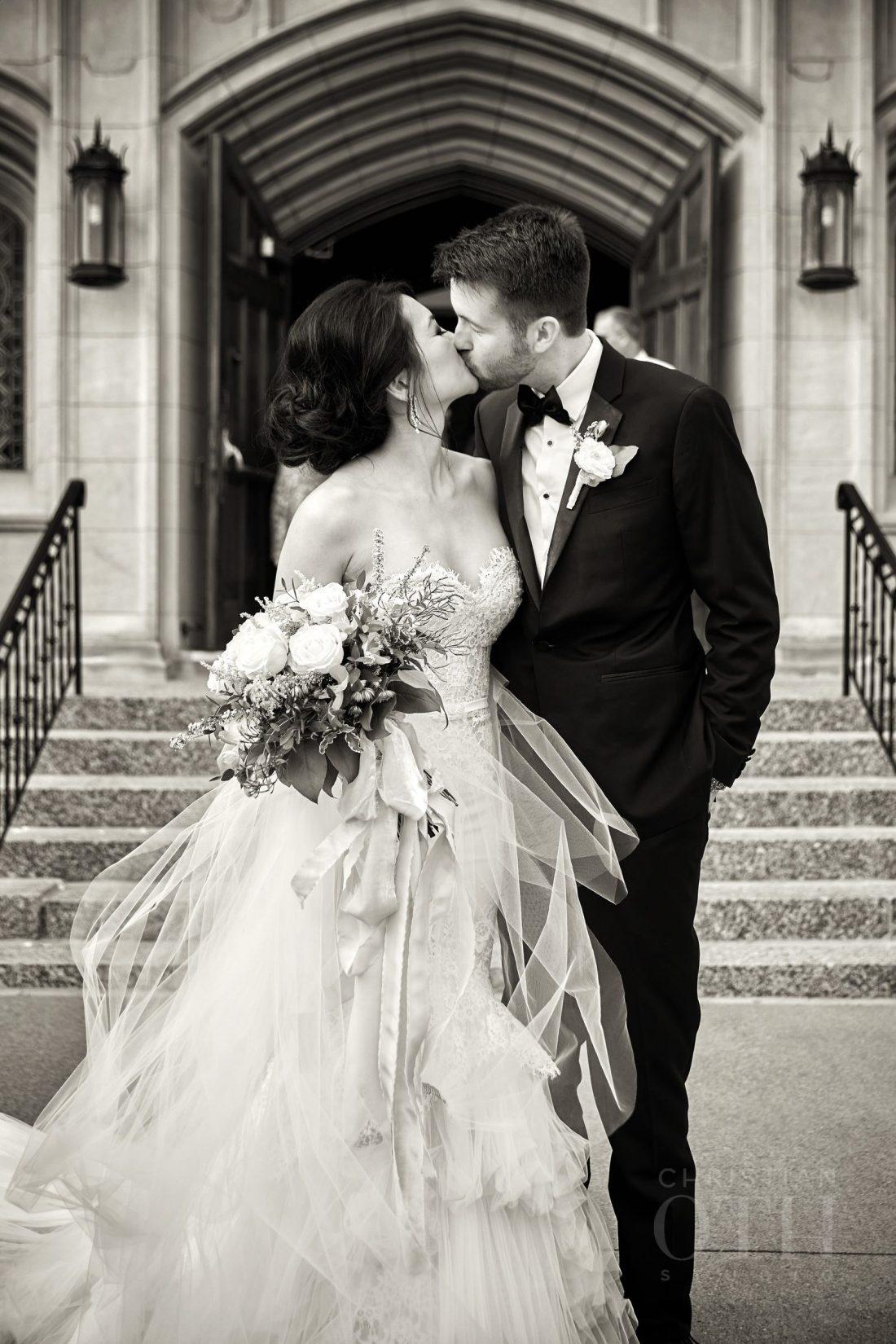 Joslyn Art Museum Omaha Nebraska Wedding Bride and Groom Kiss