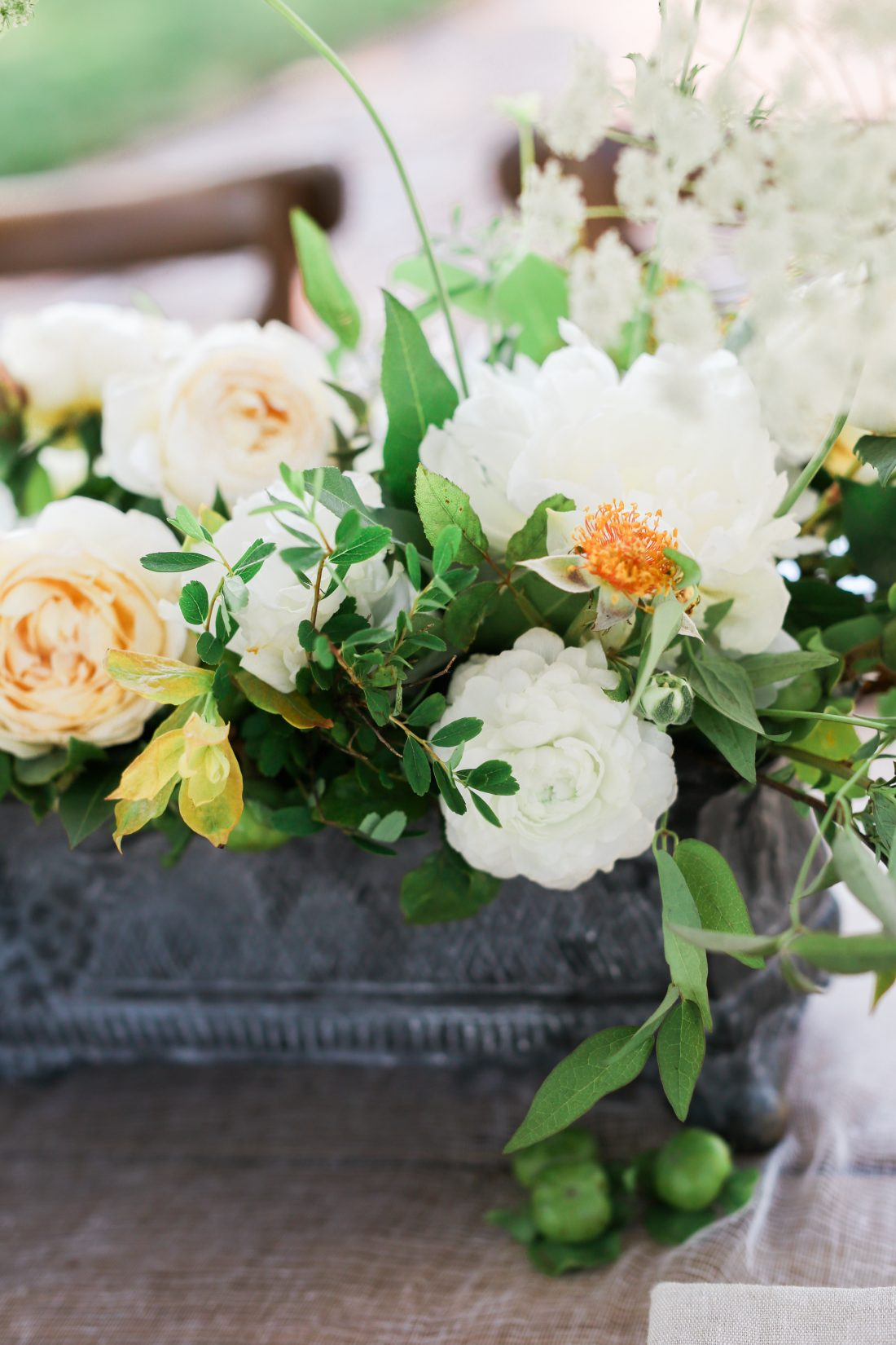 Mildale Farms Kansas City Wedding table flowers close up