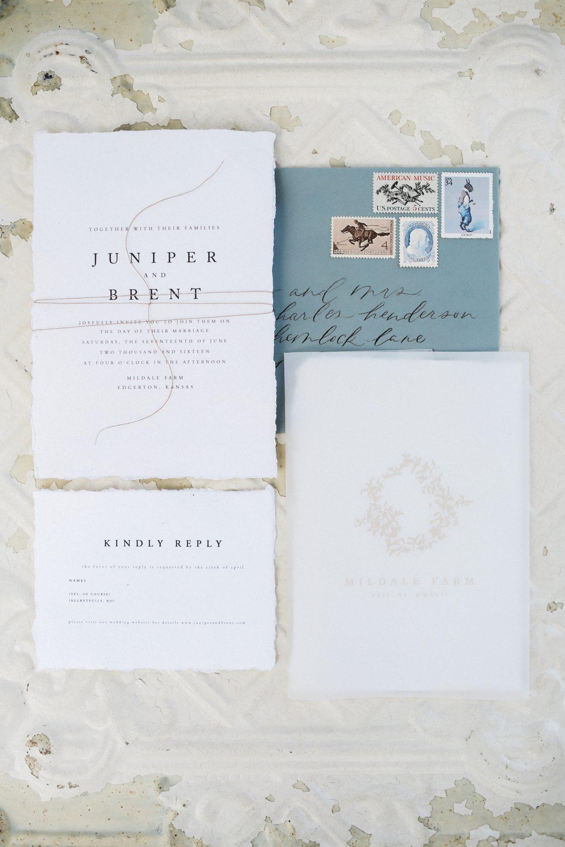 Mildale Farms Kansas City Wedding invitation suite