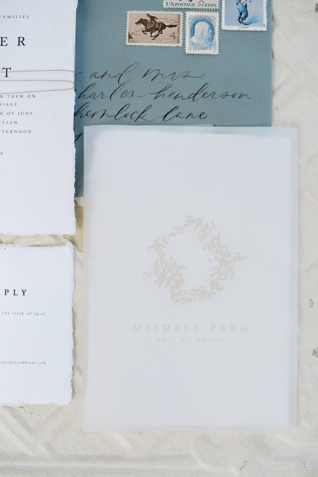Mildale Farms Kansas City Wedding invitation