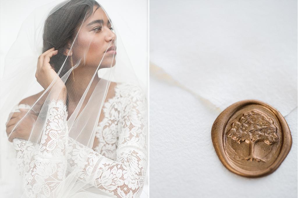 Mildale Farms Kansas City Wedding bride veil wax seal